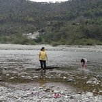 kids playing in river