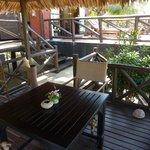 shaded seating outside villa