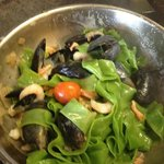 Home made spinach tagliatelle pasta with creamed mussels