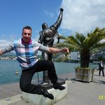 BEAUTIFUL VIEW ON FREDDY MERCURY STATUE LOCATED IN MONTREUX, SWITZERLAND.