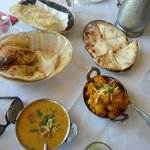 Starters - Garlic & Peshwari Naan, Tarka Dhal, Mumbai Aloo