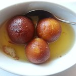 Gulab Jamun (donuts floating in warm, sweet syrup)
