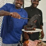...smoked Barbadian Black Belly Lamb...the outside crispy with herbs, the inside pink to perfect