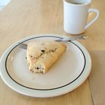 Chocolate chip scone and Three Bears coffee.