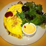 Killer Cajun Omelet with side of spring mix