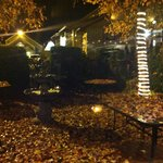 Photo of outdoor seating in the fall.