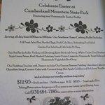 Easter Menu at Cumberland Mountain State Park