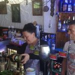 """Here's Janice aka """"Nanny McPhee """" behind the bar of the Drunken Duckling. Well done Phil."""