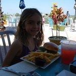 Marissa with her kids' hamburger meal