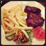 steak.. chips and salad