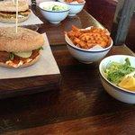 meatball burger, fries and slaw