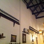 high ceilings & wooden beams on a tin roof