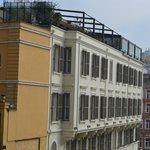 Hotel facade and top floor terrace (lefthand half)