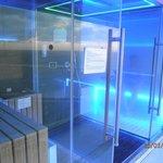 Blick in die Sauna/Dampfbad in der 9ten Etage