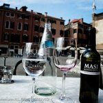 Campo Santo Stefano as seen over my bottles and glasses