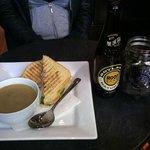 The pilgrim sandwich with mushroom & leek soup