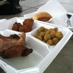 BBQ Chicken with Fried Okra and Hush Puppies