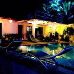 Night by the swimming pool
