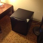 Mini fridge in room, could have been a little cleaner, concealed