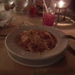 De de cena, pasta con mariscos del restaurante a la carta