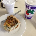 breakfast quiche, awesome coffee and fresh coconut water