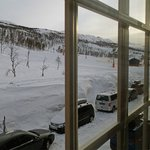 View from the apartment towards ski slopes.