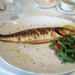 Sea bass stuffed with rosemary and garlic