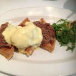 Lamb Debris & Sweet Potato Waffles