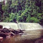 The beautiful waterfall.