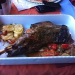 leg of lamb, in an oven dish lol, really tasty massive portions !!!