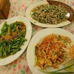 Chicken Pad Thai, Pork Laab & Phak Bung Fai Daeng (Morning Glory)