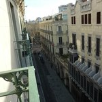 View from balcony looking towards La Ramblas