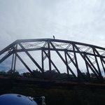 Kids jumping off bridge at end of trip