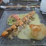Brochette de langoustines et champignons