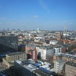 view of Hamburg from Motel One 20th floor room