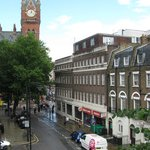 Street view from room window, King's Cross/St. Pancras in background