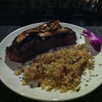 sirlion steak with rice