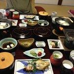 Traditional Japanese breakfast feast.