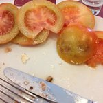 The practically inedible tomato from my Caprese Salad