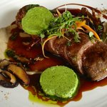 "Pan Seared Springbok, Porcini Puree, Sautéed ""Hemel and Aarde Valley"" mushrooms and Gremolata"
