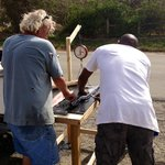 Tony and Bill filleting some fresh fish