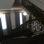 Lobby stairs, bathroom is in the lower floor