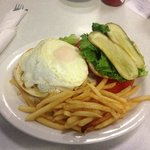 LuLu's Burger with an over easy egg