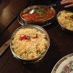 Pilaue rice and chicken tandori dansak.