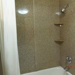 Shower w/curved shower curtain