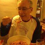 Jimmy eating tradional Roman Boccattini