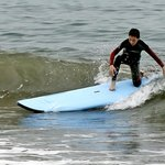 """Max (14) success during 1st lesson.  """"TERRIFIC!  Never thought I'd be able to surf. I DID IT!"""""""