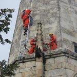 Steeple Jacks building their ladder