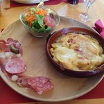 THE Tartiflette! EUR 18 with its meat cuts and salad.