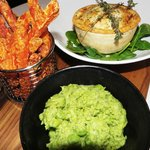 Pieminister Pie, Mushy Peas and sweet potato fries